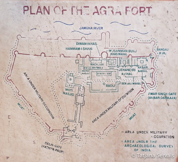 Agra Fort - Agra - India - map